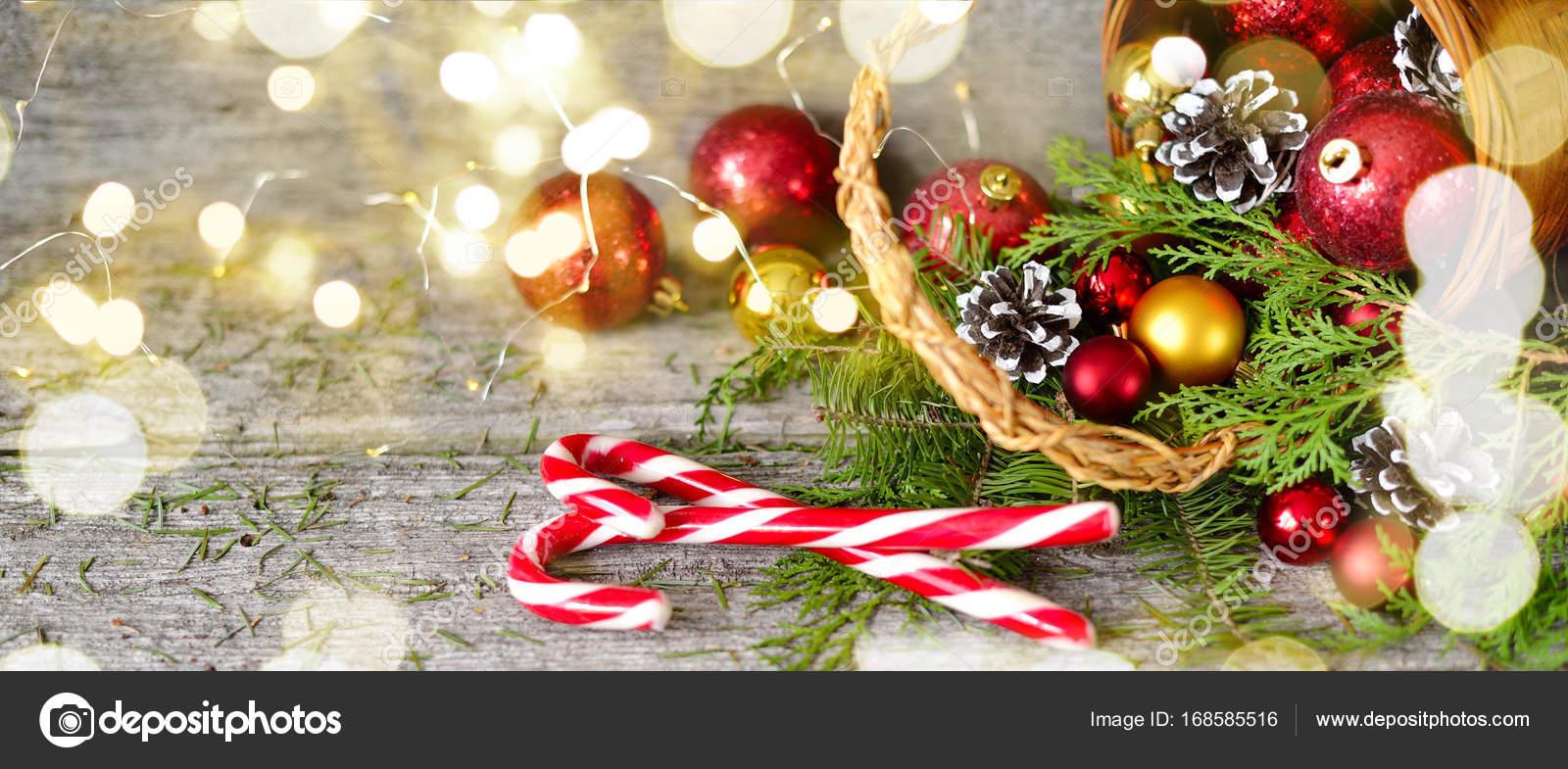 Lange banner Weihnachts-Korb mit Geschenken und strahlende Lichter ...