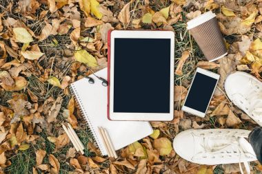 Flat lay view of autumn leaves, tablet, phone and paper cup of coffe. From above with legs