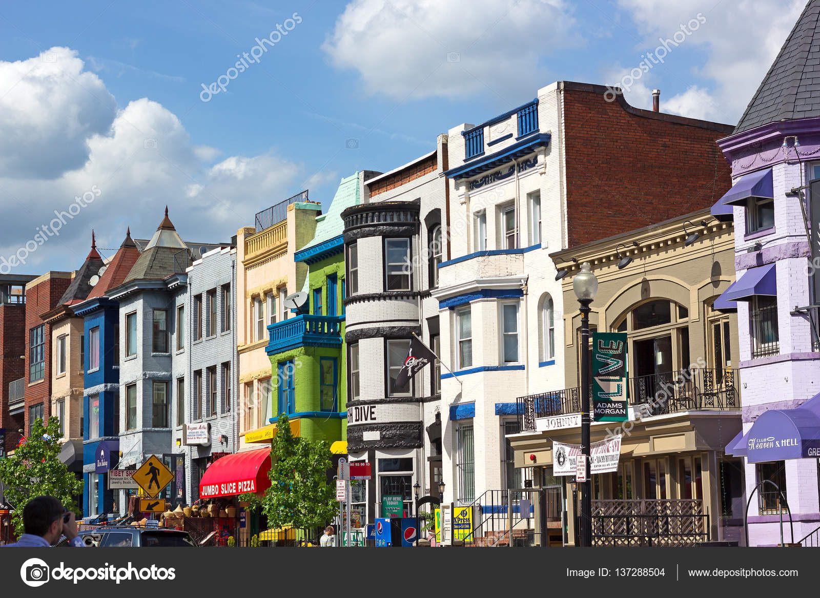 Colorful Historic Buildings In Adams Morgan Neighborhood On