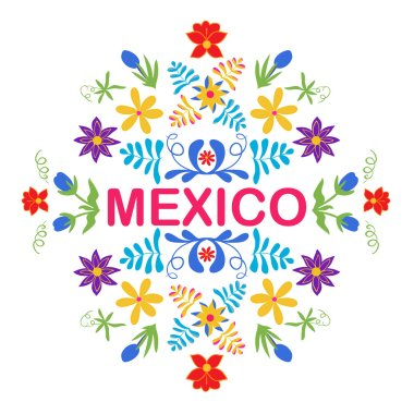Mexico flowers, pattern and elements. Traditional Mexican orname