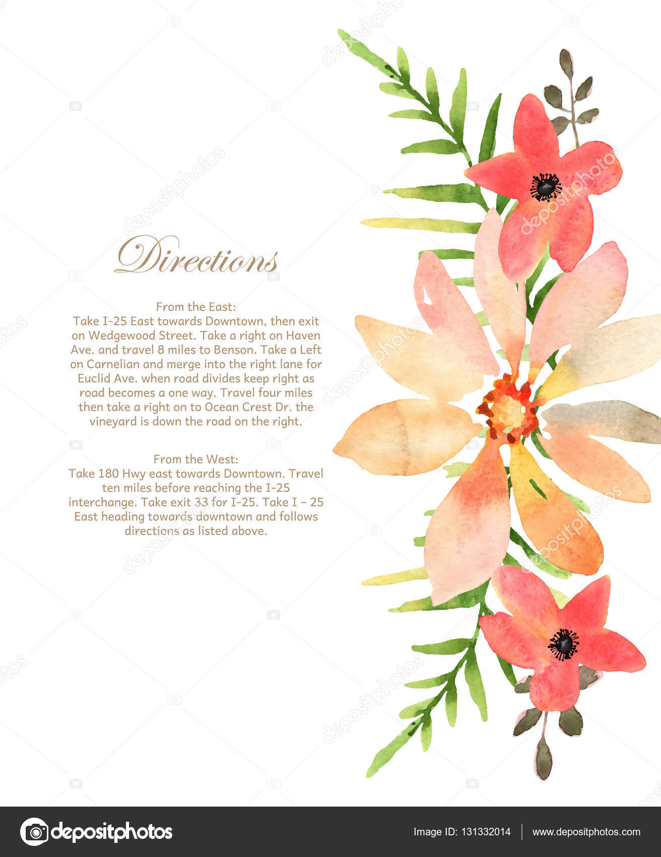 Vector wedding invitation with floral background. Hand drawn wat ...