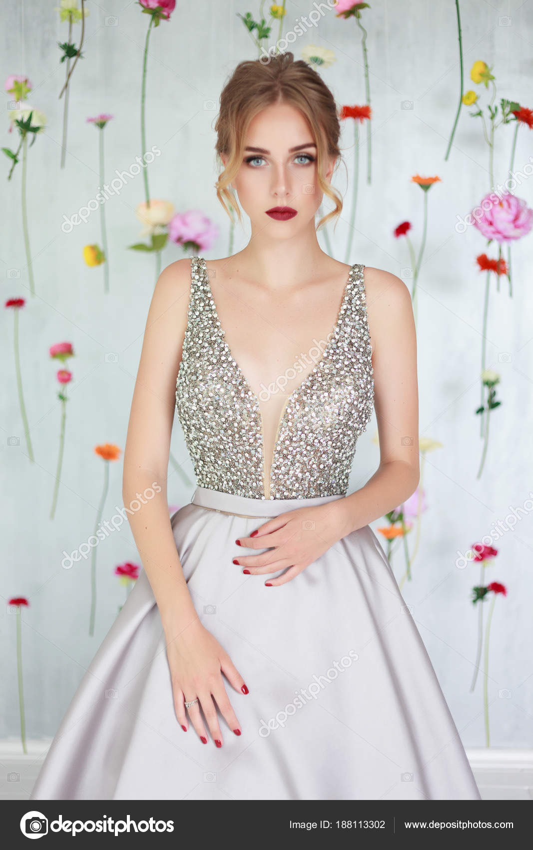 Beautiful Young Girl Luxury Silver Dress Hanging Colourful Flowers ...