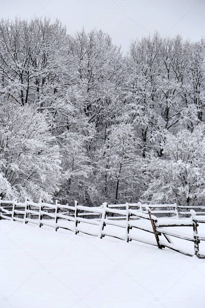 Snowy corral fence wintertime as a background