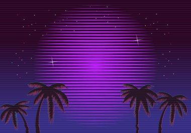 80s Retro Neon gradient background. Palms and sun. Tv glitch effect. Sci-fi beach.