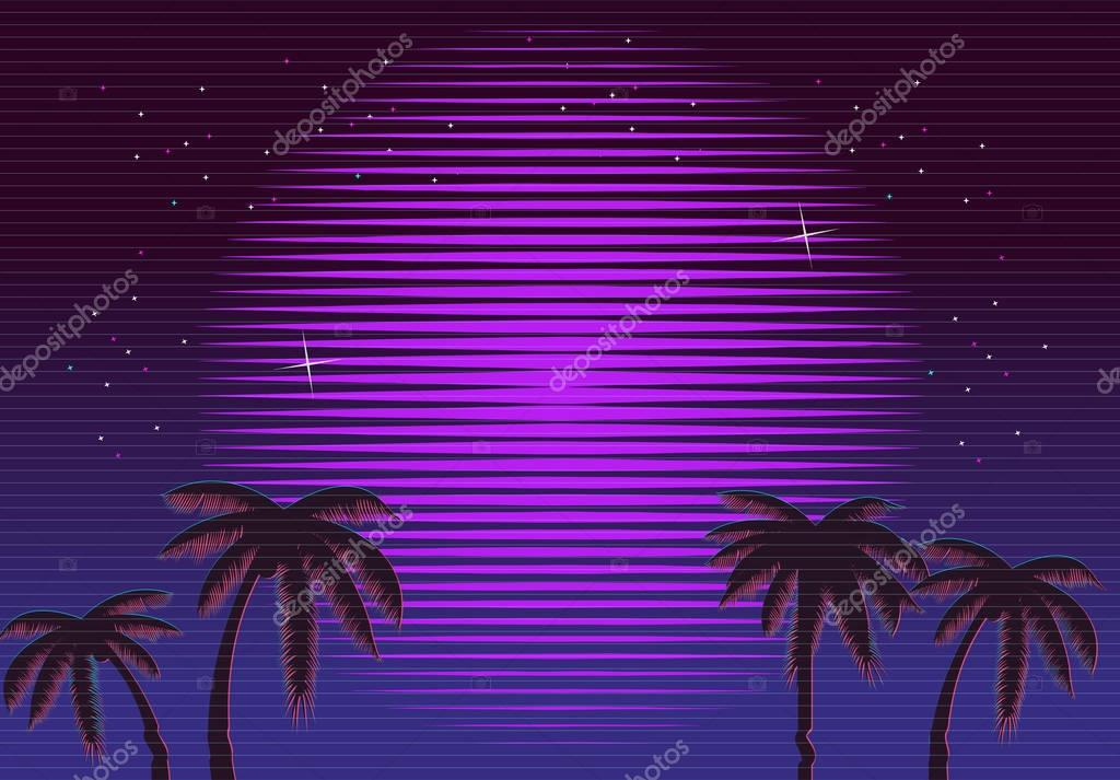 80s Retro Neon gradient background. Palms and sun. Tv glitch effect. Sci-fi beach.