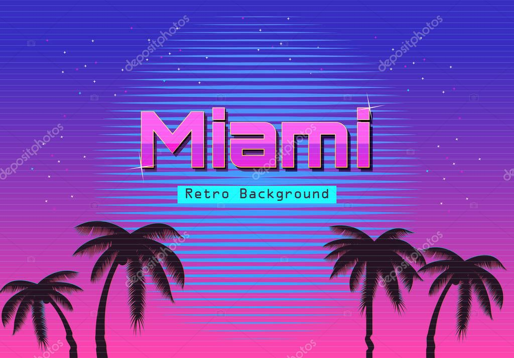Retro Beach Wallpaper 500 489: 80s Retro Neon Gradient Background. Palms And Sun. Tv