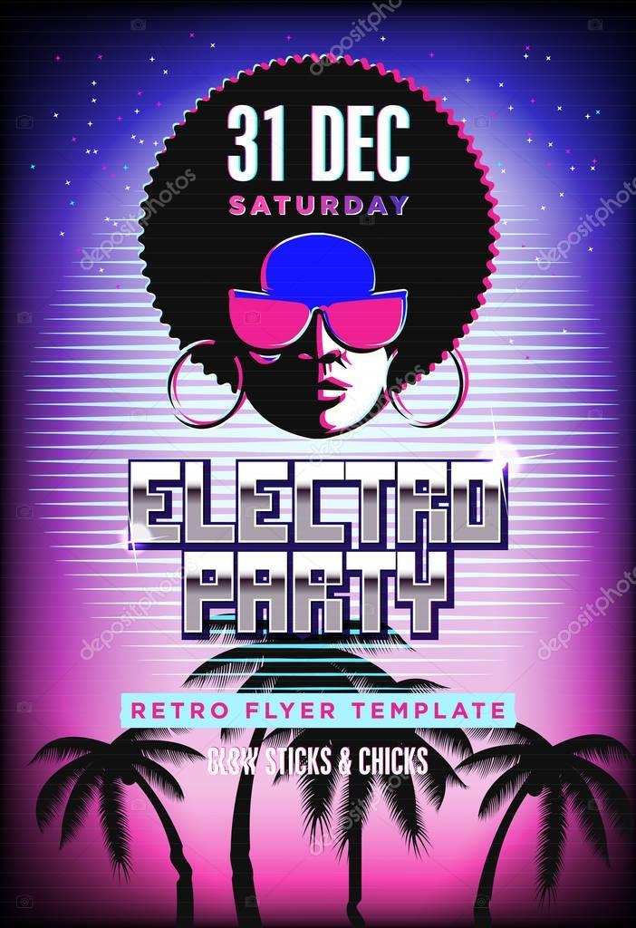 electro partij poster retro 80s neon achtergrond disco flyer sjabloon voman gezicht tv. Black Bedroom Furniture Sets. Home Design Ideas