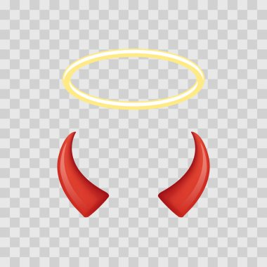 Angel halo and devil horns isolated on transparent checkered background. Vector illustration.