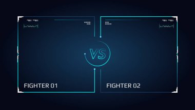Versus screen design. Announcement of a two fighters. Blue futuristic neon VS letters. Thin line borders. Vector illustration on the dark background. Future style stock vector
