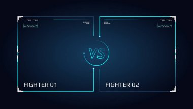Versus screen design. Announcement of a two fighters. Blue futuristic neon VS letters. Thin line borders. Vector illustration on the dark background. Future style.