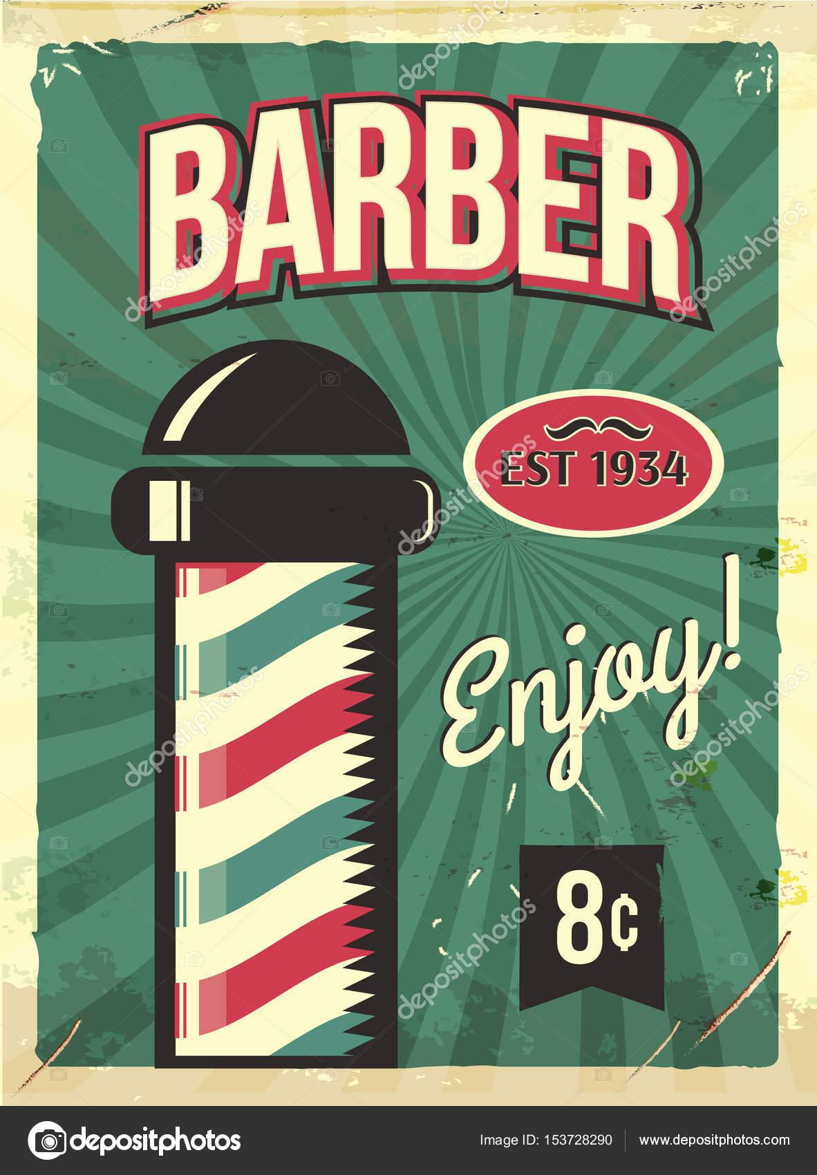 Grunge Retro Metalowy Znak Z Fryzjer Polak Barbershop