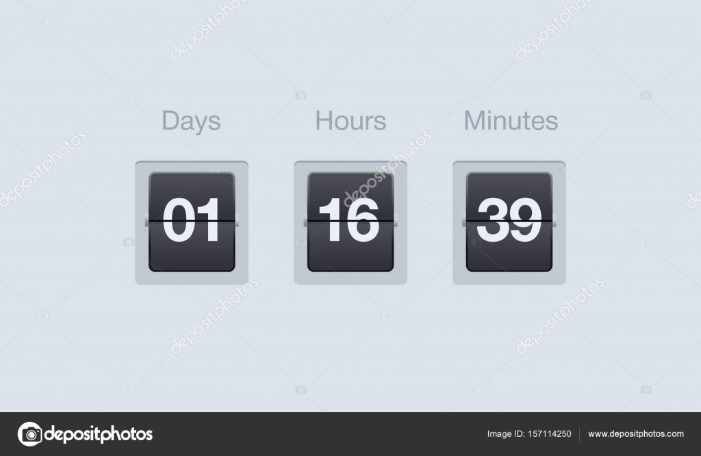 vector flip countdown timer clock counter for websites and interfaces days hours and