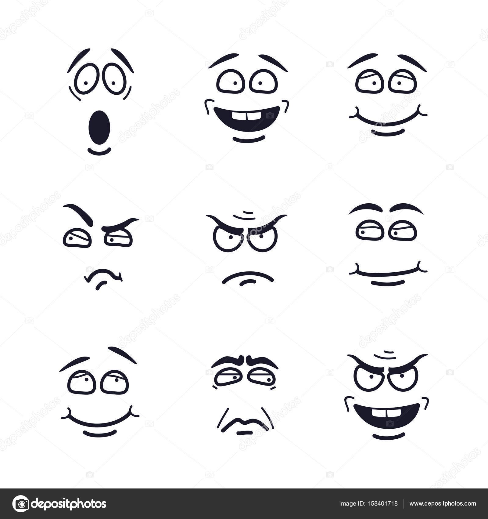 vetor desenho rostos com expressões conjunto de emoção com medo