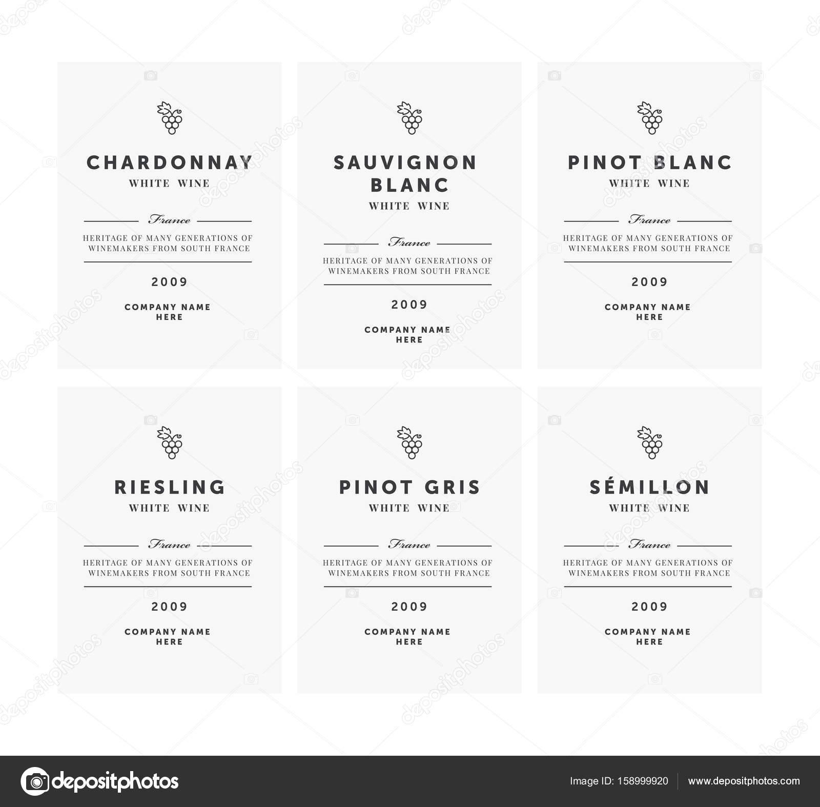 Weißer Wein Etiketten. Premium-Vorlage-Set. Saubere und moderne ...