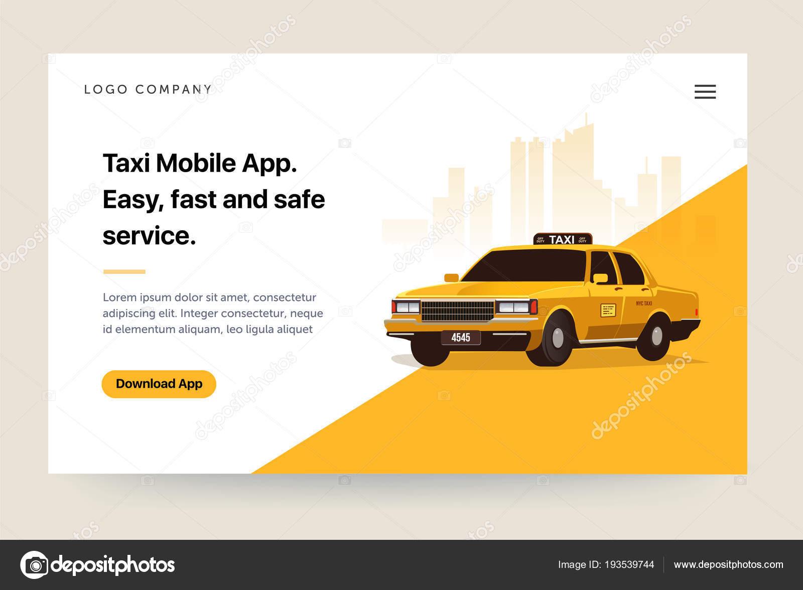 Taxi Dienstleistungen Mobile App Website Templates Retro Gelbes