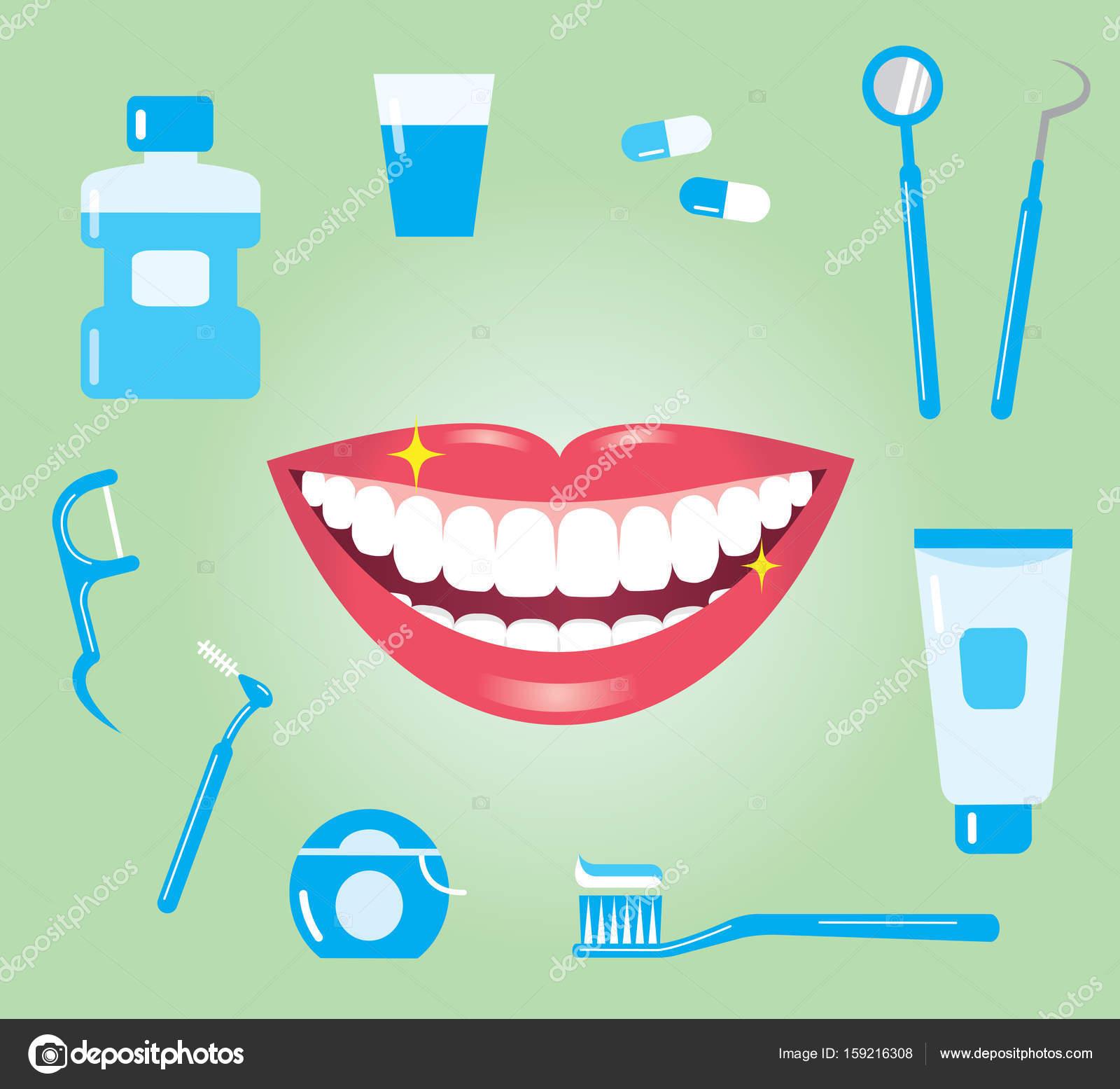 Concepto de higiene dental. boca sonriente con los dientes limpios y  productos del cuidado dental — Vector de mug5 b8e193be08b0