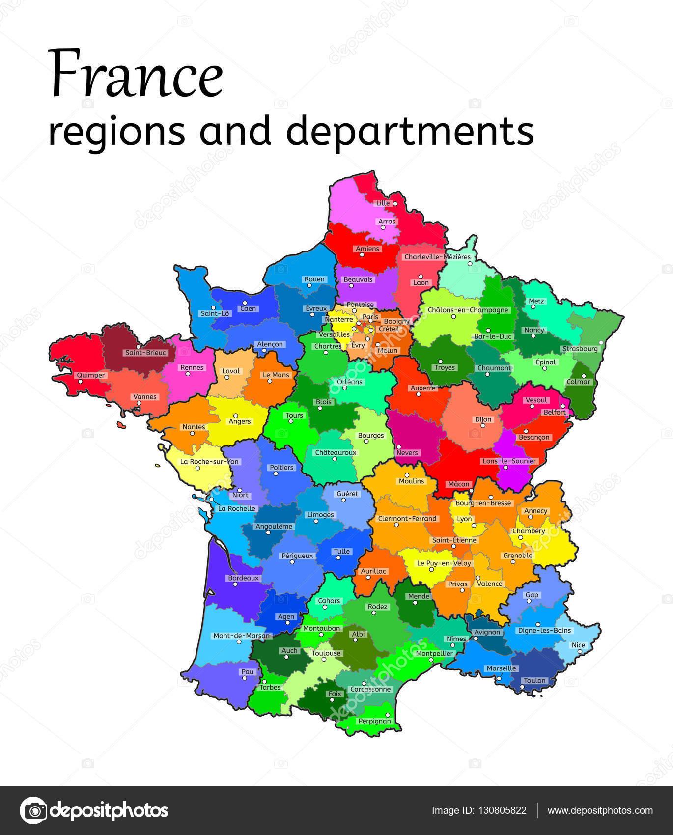 Administrative map of France Stock Vector MariaShmitt 130805822
