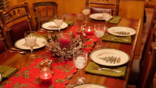 Table set for a fun christmas dinner\u2013 stock footage & Table set for a fun christmas dinner \u2014 Stock Video © jakerbreaker ...