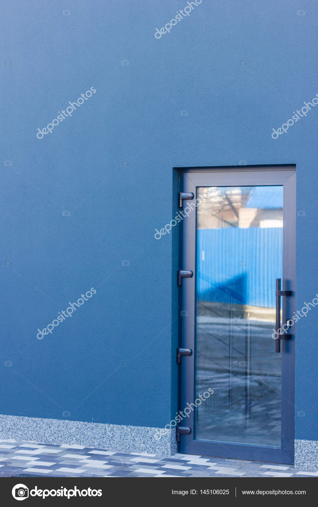 The Door Tinted Glass With A Grey Frame In The Office Building. U2014 Stock  Photo