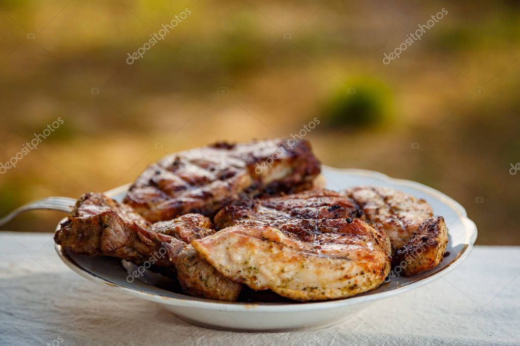 Grilled steak at the campsite lies in a white plate on the table