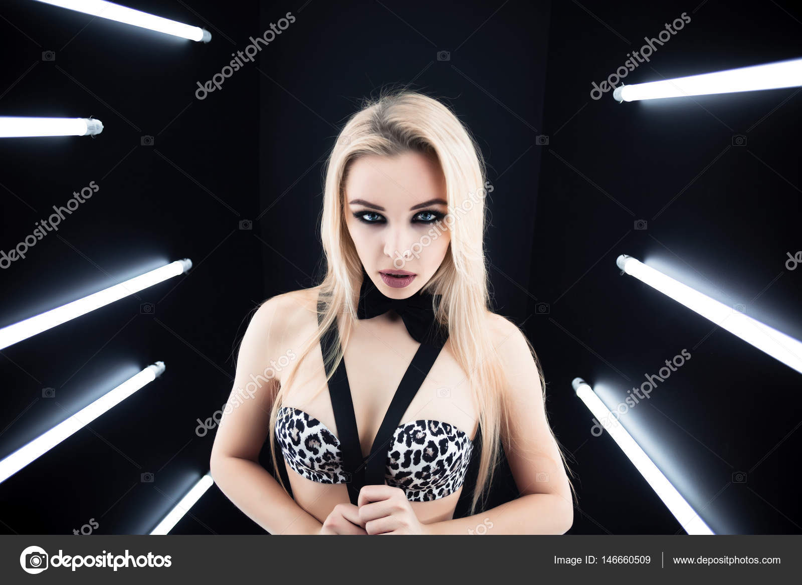dbef737ce Beautiful sexy blonde woman on black background.Close up fashion portrait  of Beautiful alluring young woman in sexy lingerie.Wears sensual clothes  and ...