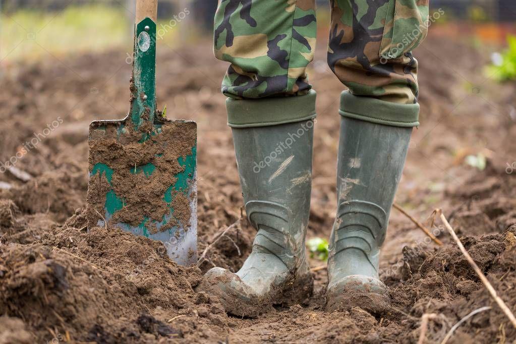 Man digging with spade in garden