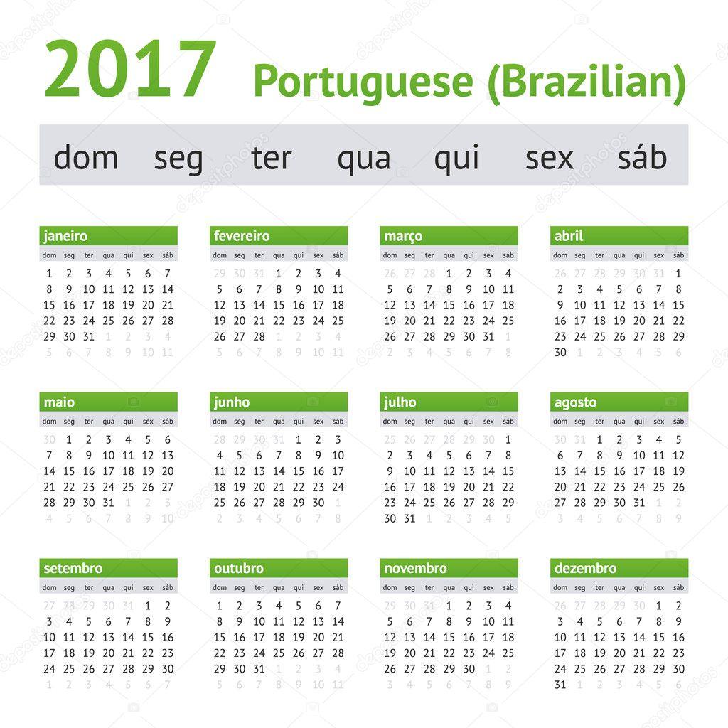 2017 portuguesa calend rio americano semana come a no domingo vetores de stock new year. Black Bedroom Furniture Sets. Home Design Ideas