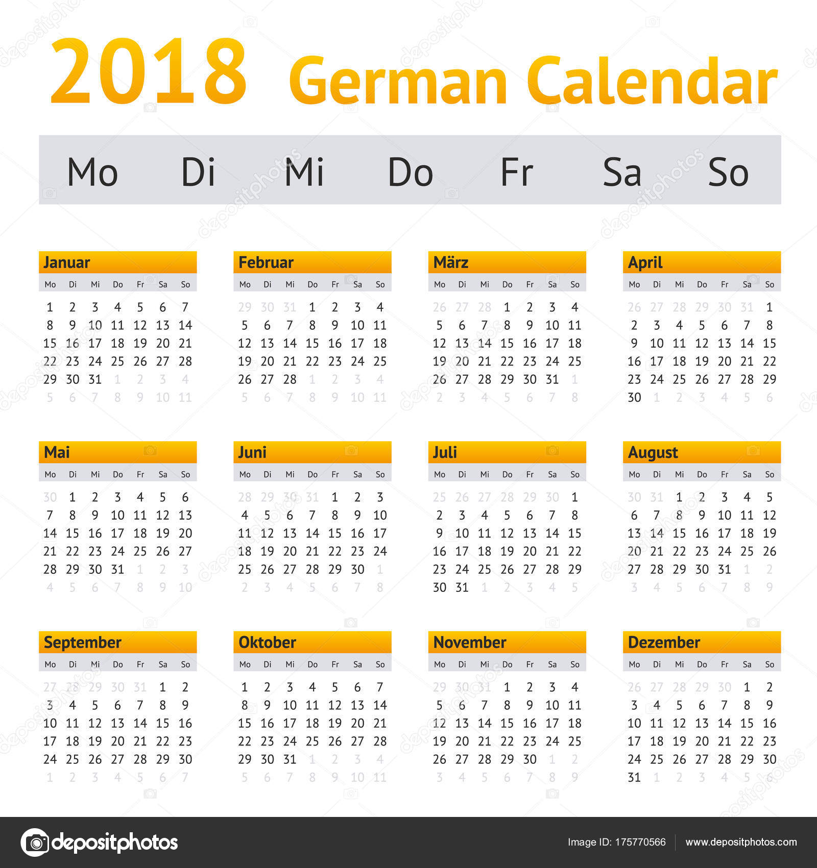 2018 german calendar stock vector