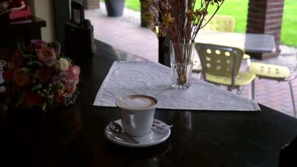 Romantic coffee at a cafe table