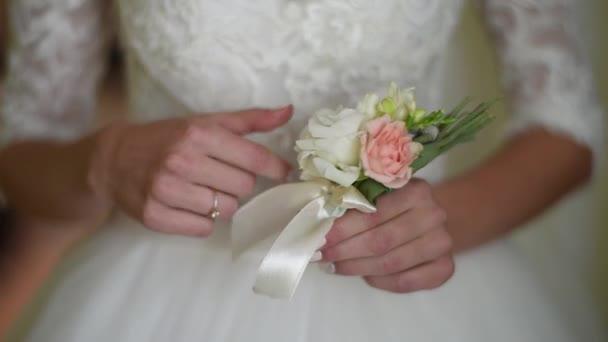 wedding bouquet, brides hands, wedding rings