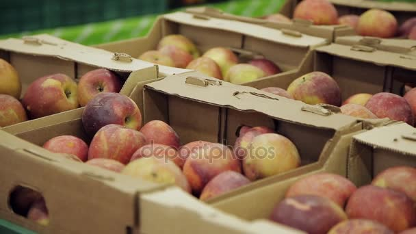 Čerstvé ovoce na stánku. jablka v krabicích v supermarketu