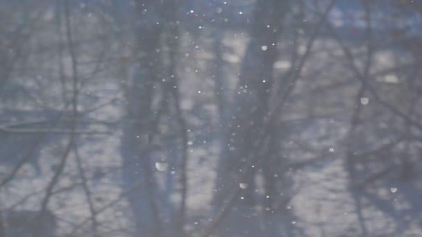 Modré pozadí padajícího sněhu v paprscích slunce