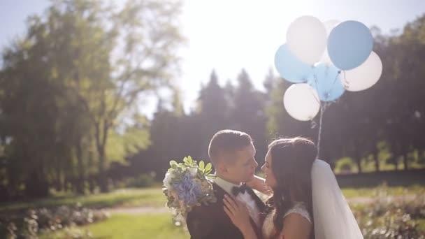 Nevěsta a ženich s balonky. Carryes šťastný ženich v ruce krásné blonde nevěsta s balonky. Slunné letní pole pozadí