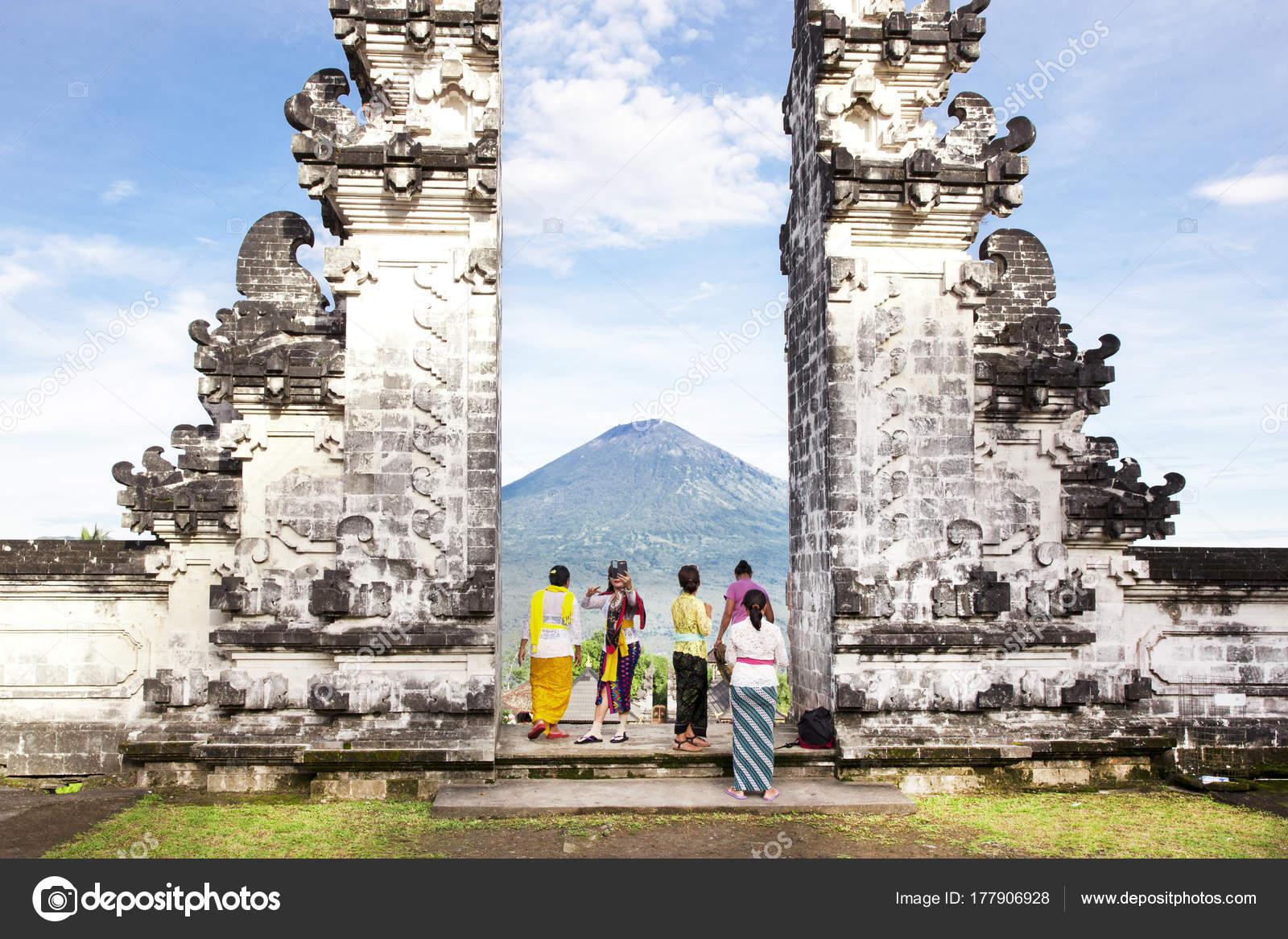 Indonesia Bali Tourist Standing Betwen Lempuyang Gate