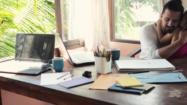 Creative fashion design men develop ideas and looking laptop