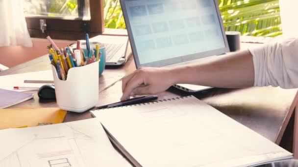 Creative design men develop ideas and looking laptop
