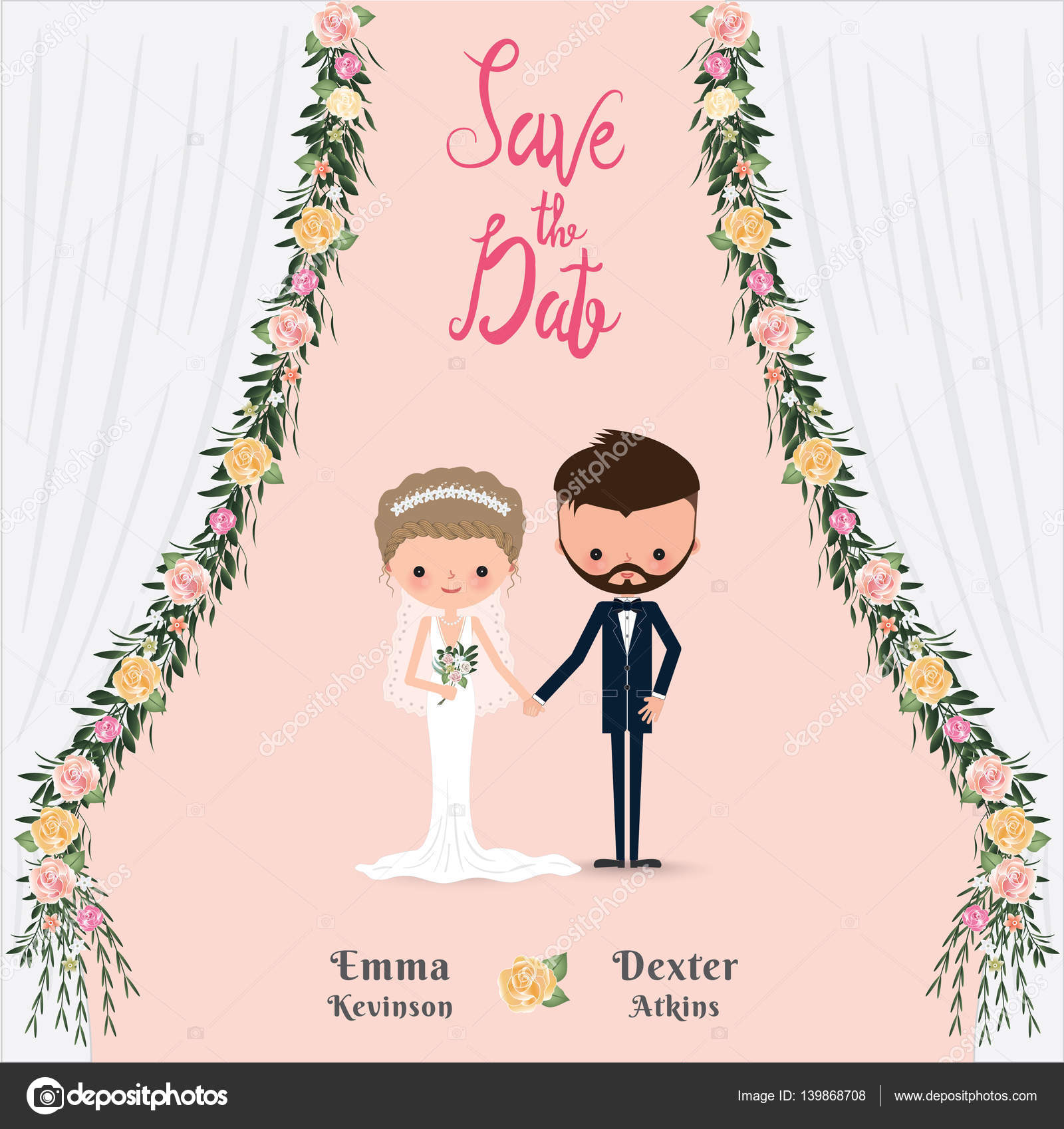 Cartoon wedding couple save the date invitation card — Stock