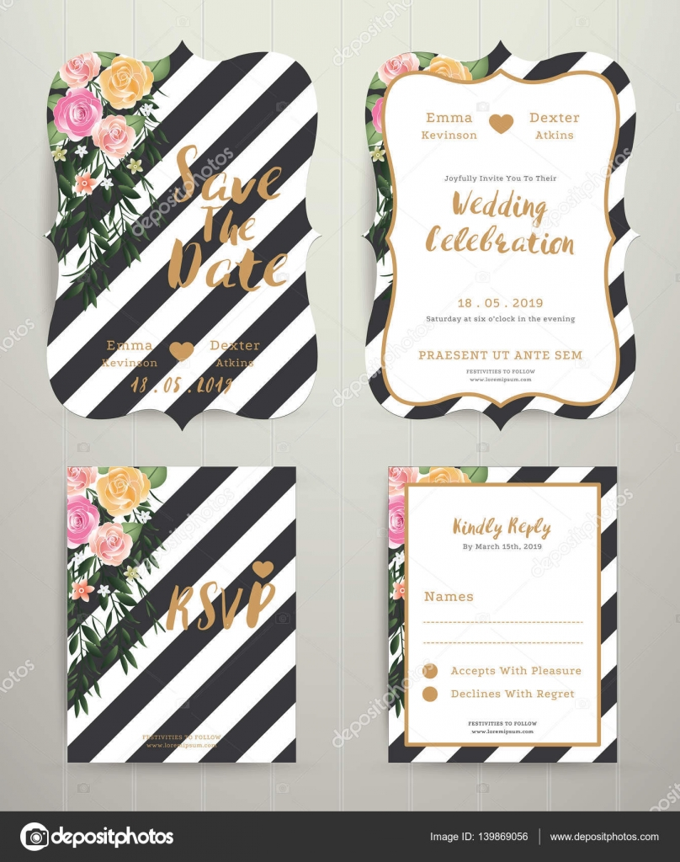 Modern wedding invitation card set on black and white stripe bac ...