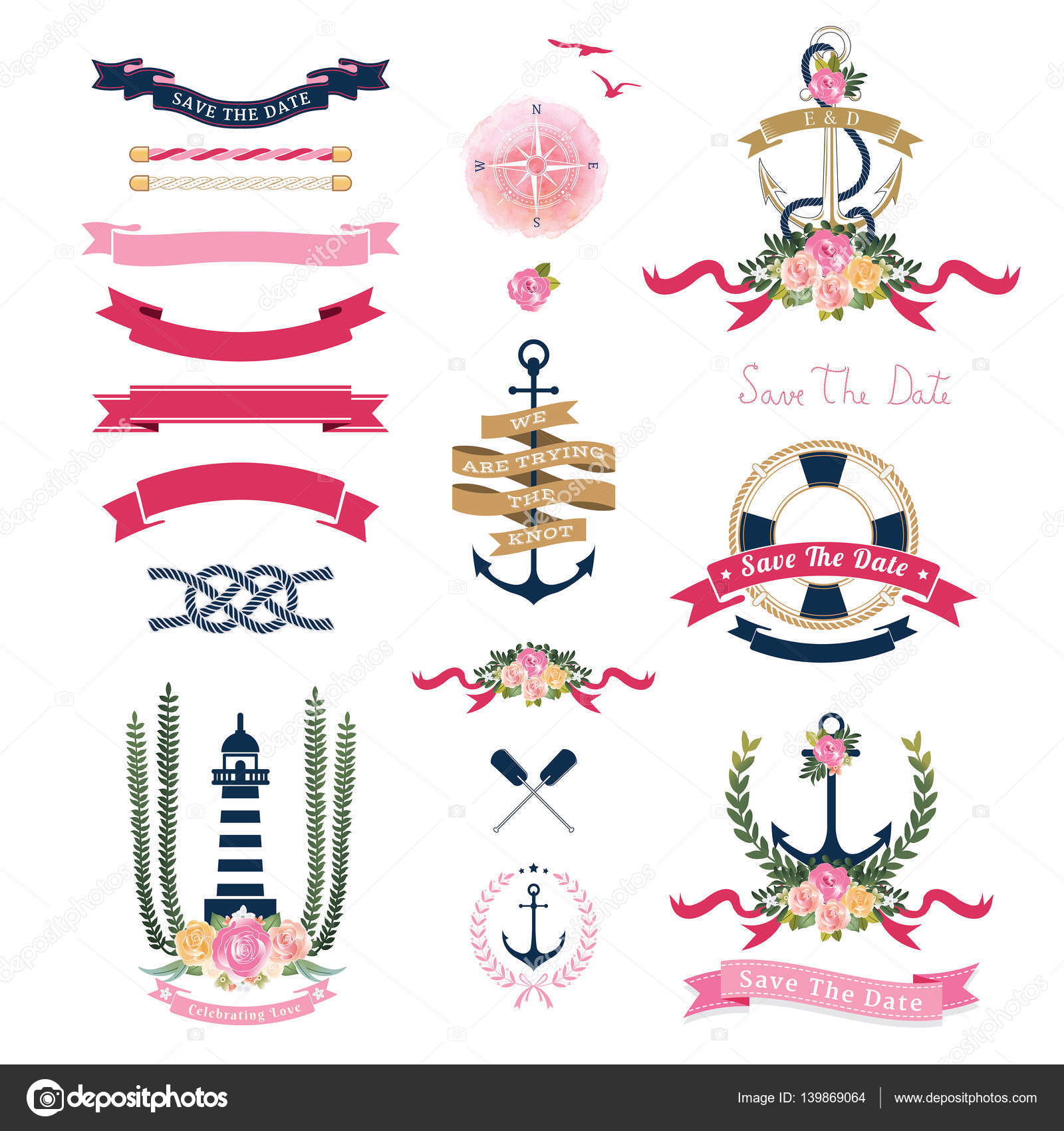 Anchor ornaments - Nautical Wedding Theme With Floral And Anchor Ornaments Stock Vector 139869064