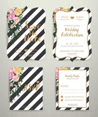Modern wedding invitation card set on black and white stripe bac