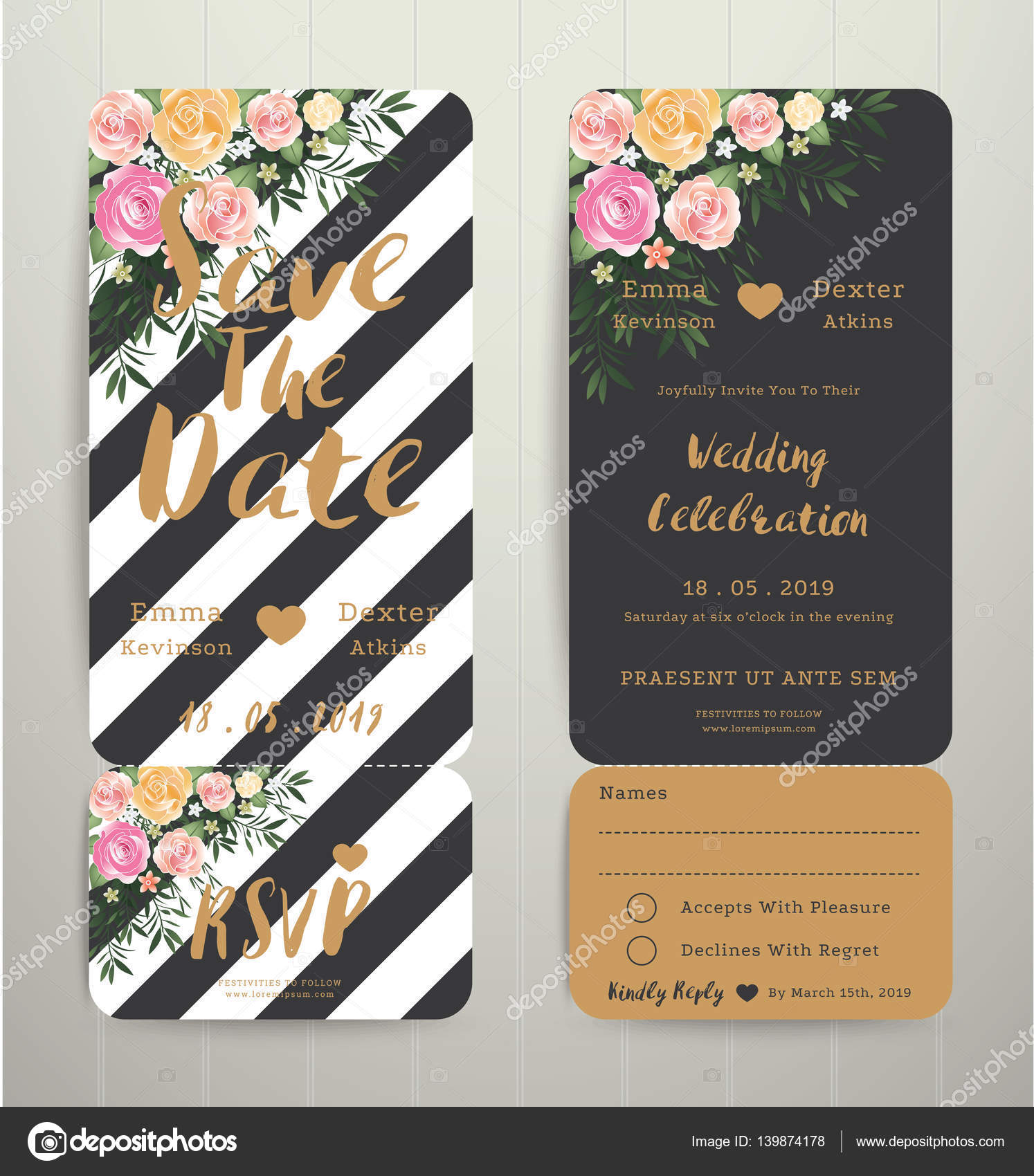 Modern Wedding Invitation Black And White Stripes Background Save