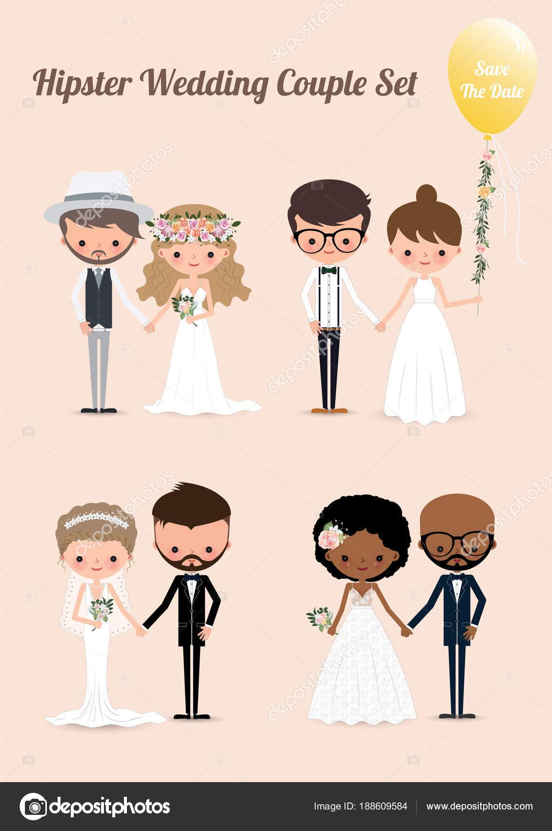 Hipster Hochzeitspaar Set Hipster Hochzeit Paar Set Illustration