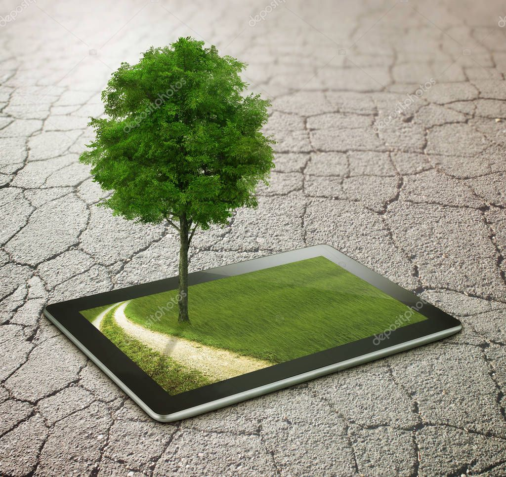asphalt with tablet, tree and country road