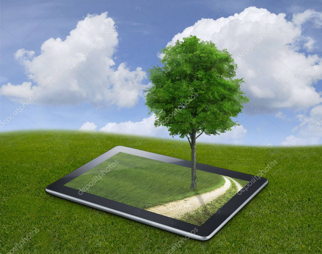 tablet with country views and tree