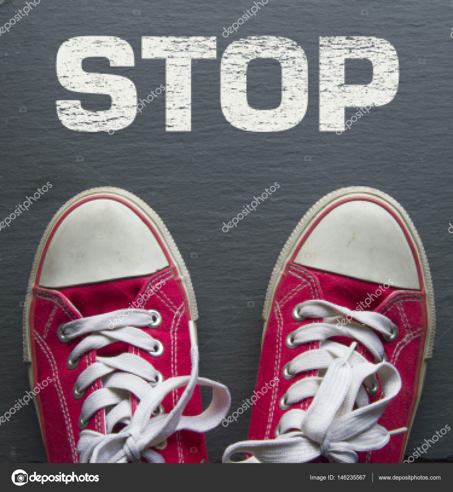 e84268ecf3929 red sneakers with stop sign — Stock Photo © lisa l  146235567