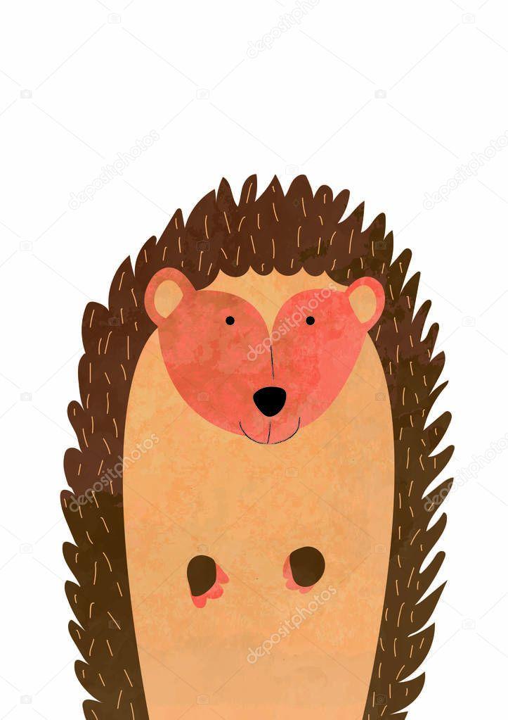 brown hedgehog, illustration for nursery