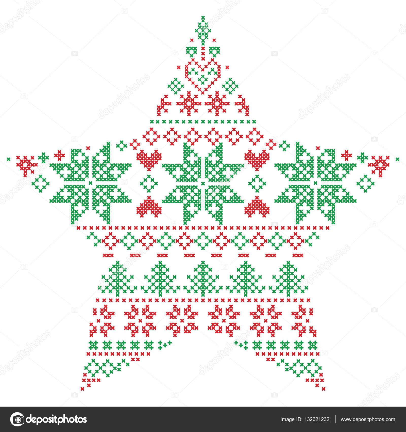 Puntada de invierno escandinavo nórdicos, punto Navidad en forma de ...