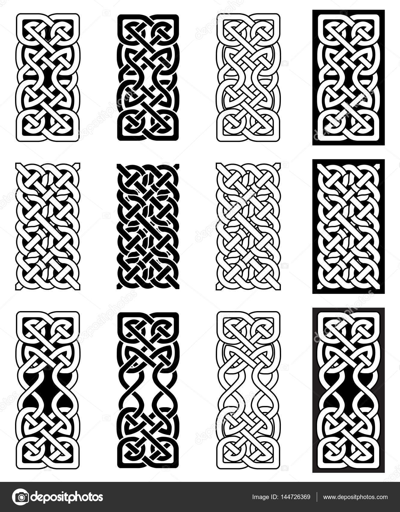 Celtic Style Endless Knot Rectangle Symbols In White And Black