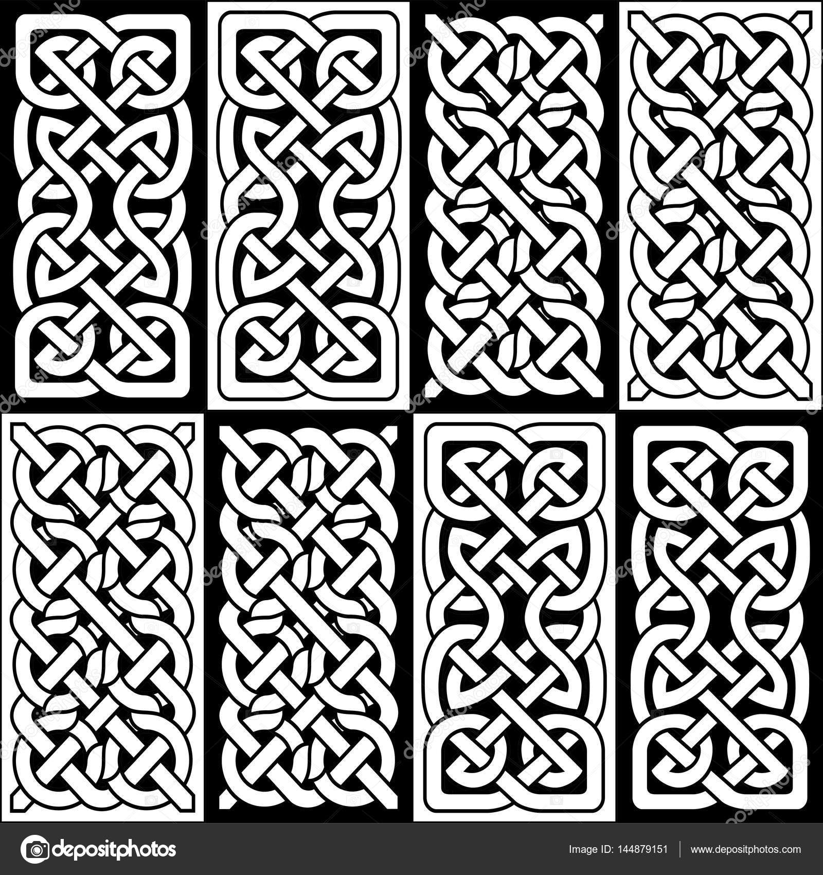 Celtic style endless knot rectangle symbols in white and ...
