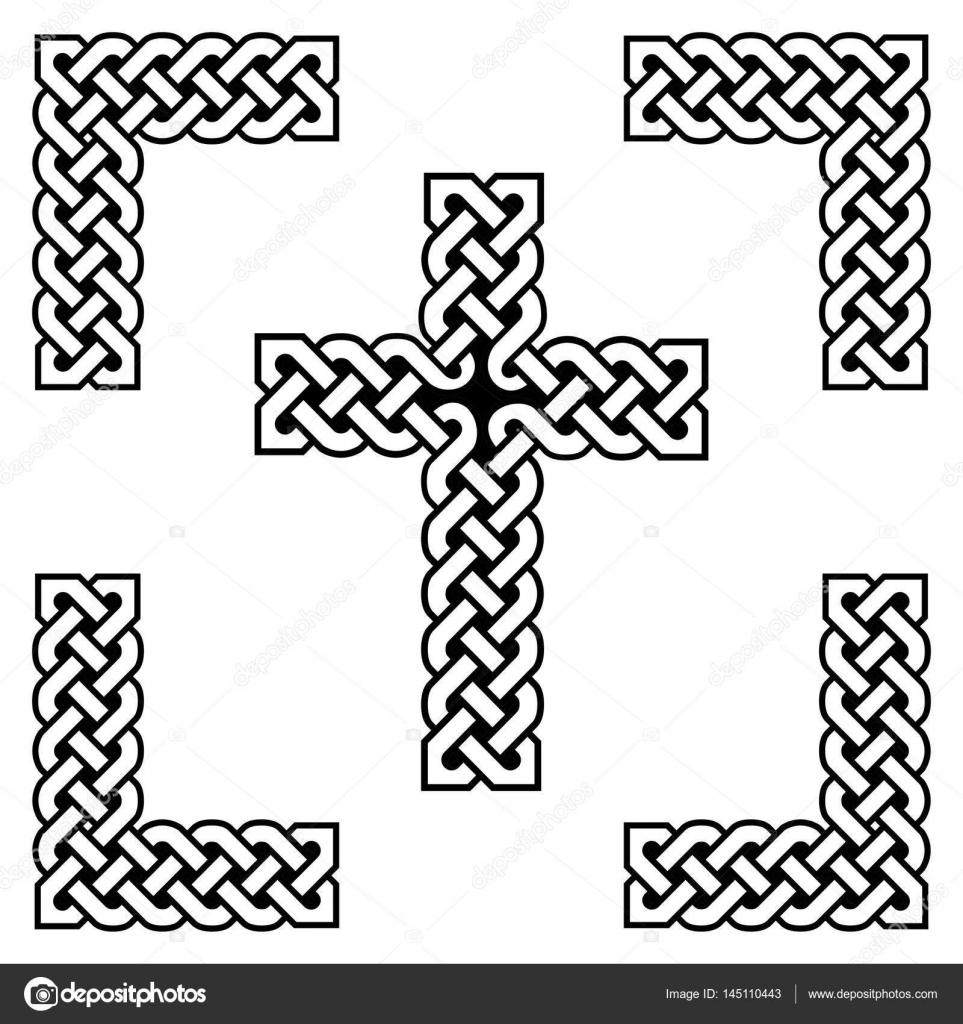 Nudo sin fin estilo celta Cruz símbolos en blanco y negro, con negro ...